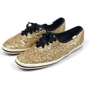Kate Spade x Keds Gold Glitter Black Lace Sneakers